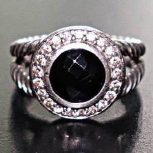 David Yurman Petite Cerise Ring w/Onyx & Diamonds